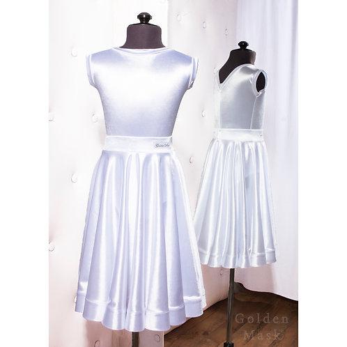 Платье рейтинговое |Юбка 1.5 солнца| Белый | Сатин Вельвет