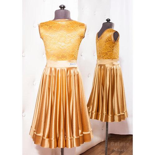 Платье рейтинговое |Юбка 1.5 солнца| Золото | Гипюр + Сатин Вельвет