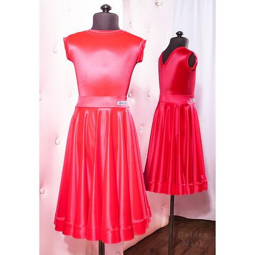 Платье рейтинговое  Юбка 1.5 солнца  Корал   Сатин Вельвет