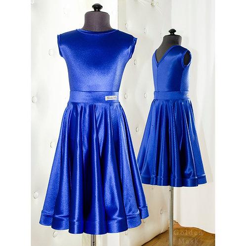 Платье рейтинговое |Юбка 1.5 солнца| Синий электрик | Сатин Вельвет