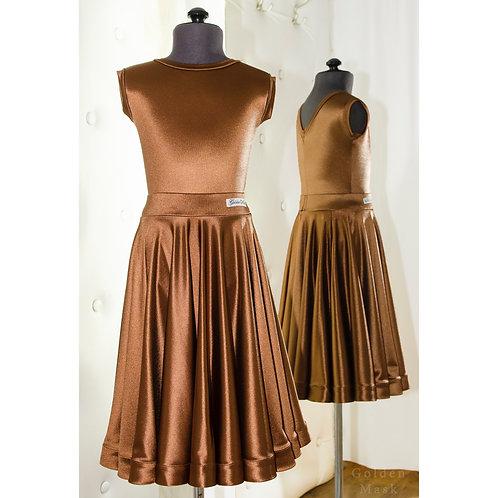 Платье рейтинговое |Юбка 1.5 солнца| Шоколад | Сатин Вельвет