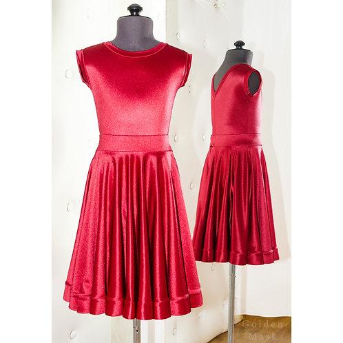 Платье рейтинговое |Юбка 1.5 солнца| Вишня | Сатин Вельвет