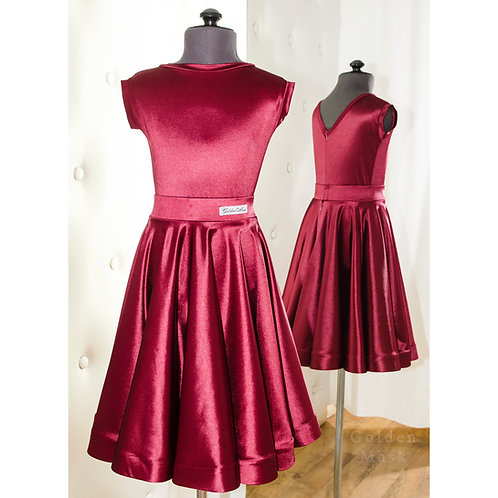 Платье рейтинговое |Юбка 1.5 солнца| Винный | Сатин Вельвет