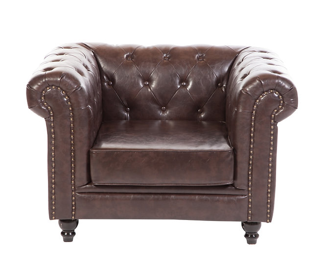 Brixton Chesterfield armchair in chocolate