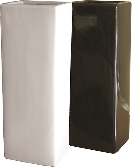 Pedestal Vase Square Shaped in white or black