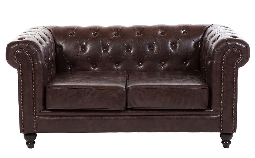 Brixton Chesterfield two seater in chocolate