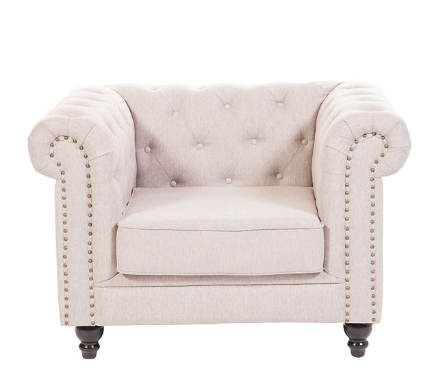 Brixton Chesterfield armchair in linen