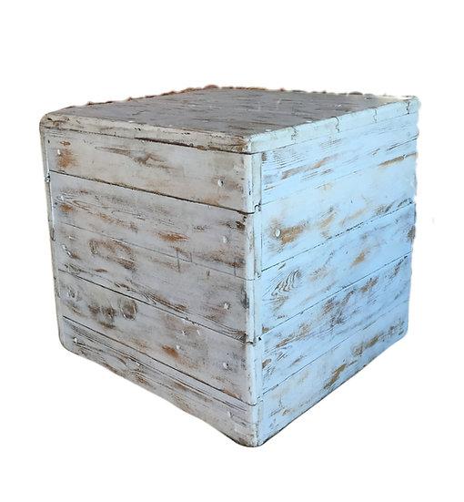 Whitewash Timber Ottoman Cube