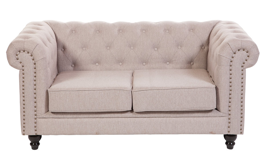 Brixton Chesterfield two seater in linen