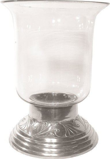 Glass Candleholder with Silver Base