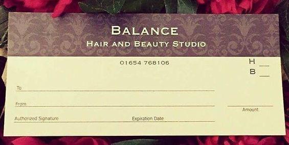 Gift Voucher Balance Hair Beauty