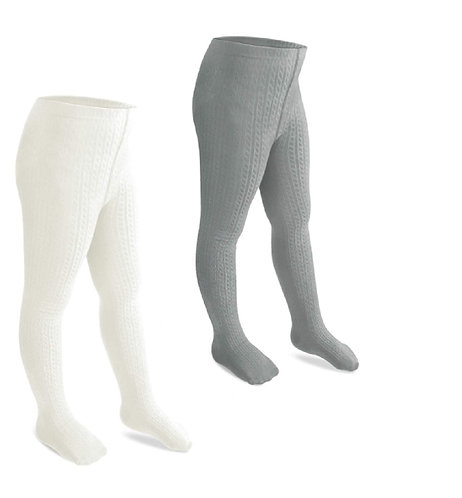 Cable Knit Rich Cotton Stockings / Footed Tights (5-7 Y) Cream & Grey