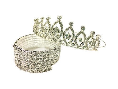 Rhinestone Studded Crystal Tiara Bracelet Combo free size