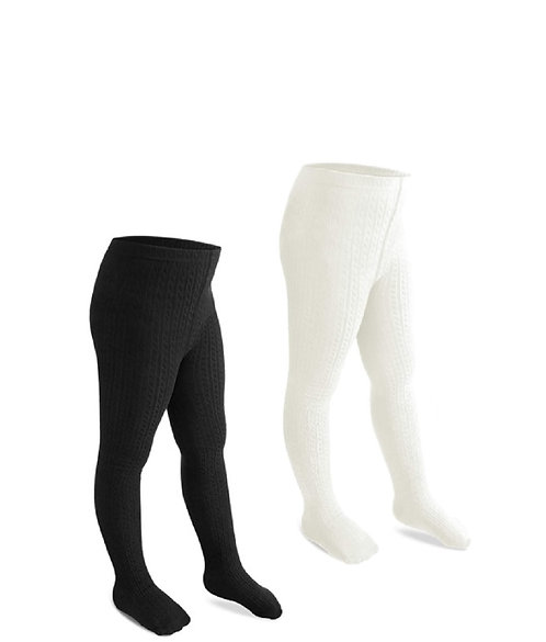 Cable Knit Rich Cotton Stockings / Footed Tights (5-7 Y) Black & Cream