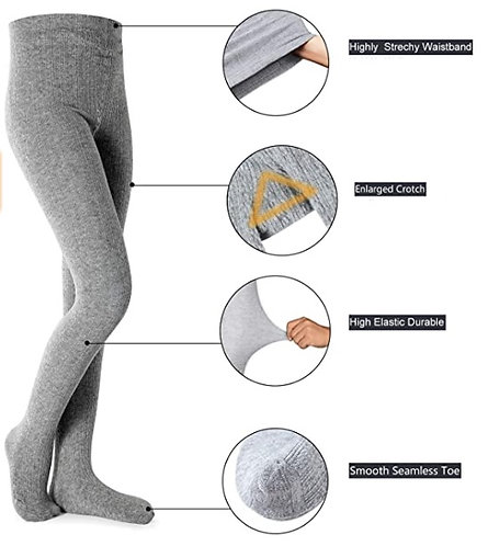 Cable Knit Rich Cotton Stockings / Footed Tights (5-7 Y) Grey