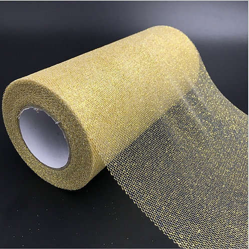 6 Inches * 25 Yards Glitter Roll - Gold