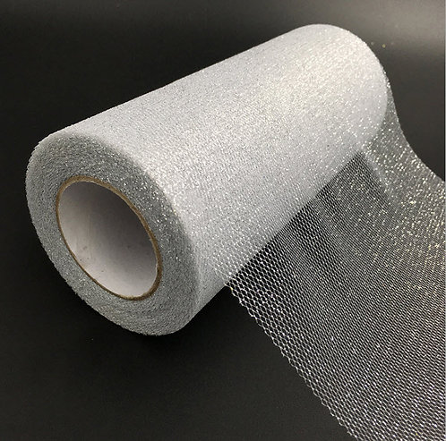 6 Inches * 25 Yards Glitter Roll - Silver
