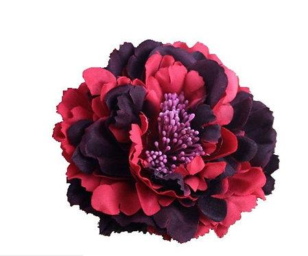 Camellia Hair Flower Clip /  Pin Brooch for Women & Kids - RednBlack