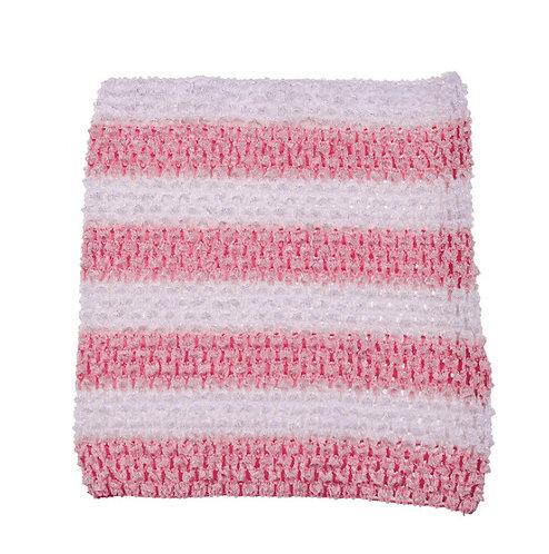 TuTu Crochet Top - Baby Pink/ White Stripes