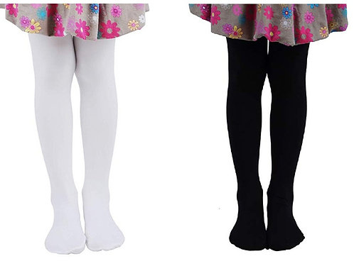 Soft Stockings / Footed Tights (5-7 Y) White & Black Combo
