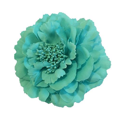 Camellia Hair Flower Clip /  Pin Brooch for Women & Kids - Cyan Blue