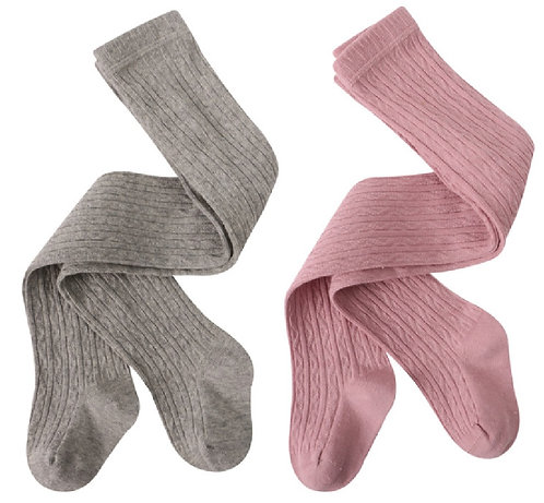 Cable Knit Rich Cotton Stockings / Footed Tights (5-7 Y) Blush Pink & Grey