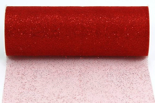 6 Inches * 25 Yards Glitter Roll - Red