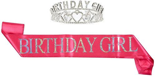 """Birthday Girl"" Sash & Rhinestone Tiara Set - Fuchsia"