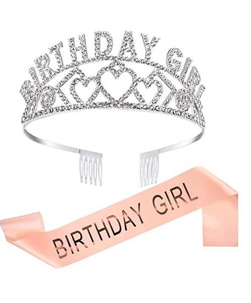 """Birthday Girl"" Sash & Rhinestone Tiara Set - Peach"