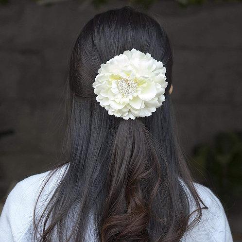 Camellia Hair Flower Clip /  Pin Brooch for Women & Kids - White