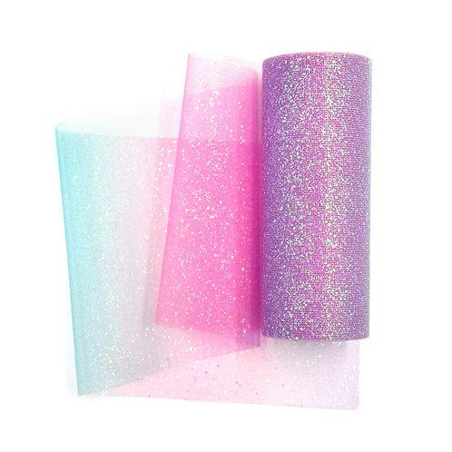 6 Inches * 10 Yards Glitter Roll - Rainbow