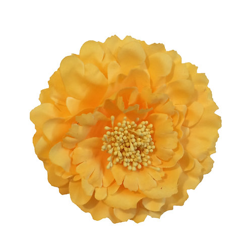 Camellia Hair Flower Clip /  Pin Brooch for Women & Kids - Yellow