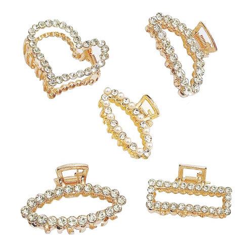 Hair Claw Clutcher Rhinestones Gold Metal Hair Pin for Kids/Girls/Women Pack 5