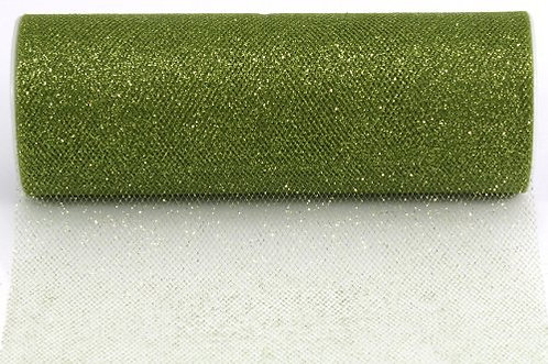 6 Inches * 25 Yards Glitter Roll - Olive Green