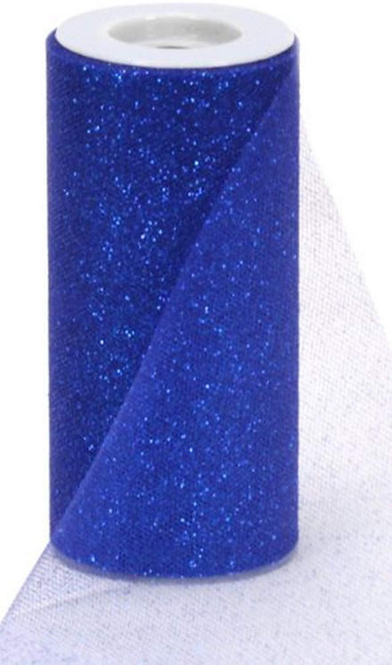 6 Inches * 25 Yards Glitter Roll - Royal Blue