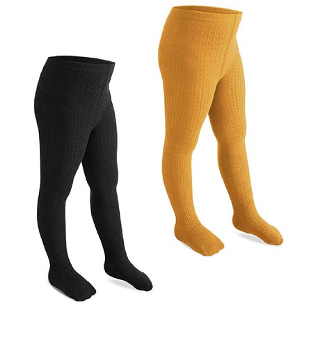 Cable Knit Rich Cotton Stockings / Footed Tights (5-7 Y) Black & Yellow
