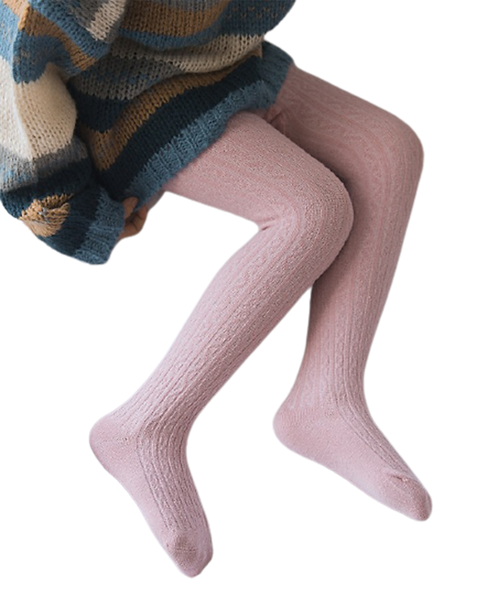 Cable Knit Rich Cotton Stockings / Footed Tights (5-7 Y) Blush Pink