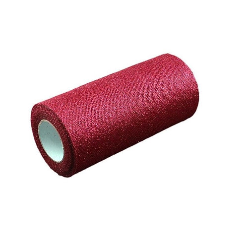 6 Inches * 25 Yards Glitter Roll - Wine Red