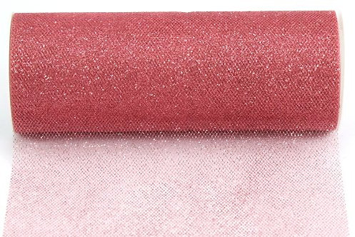 6 Inches * 25 Yards Glitter Roll - Coral