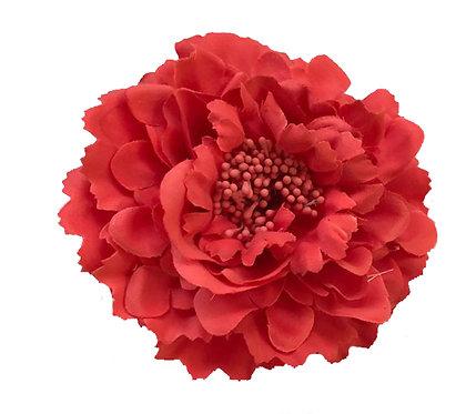 Camellia Hair Flower Clip /  Pin Brooch for Women & Kids - Red