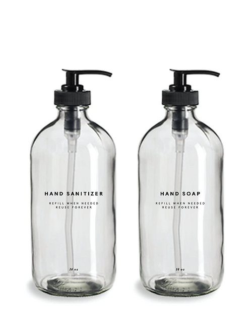 Glass Hand  Sanitizer and Hand Soap Bottles