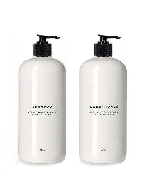 Plastic Opaque White Shampoo and Conditioner Bottles
