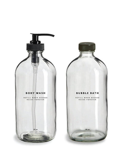 Glass Body Wash and Bubble Bath Bottles