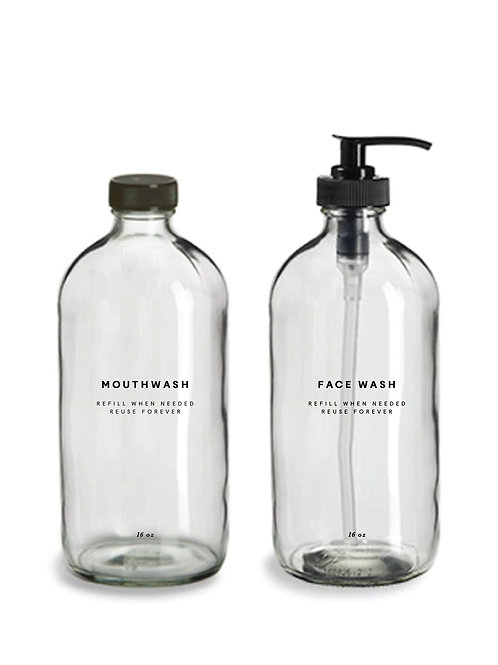 Glass Mouthwash and Face Wash Bottles