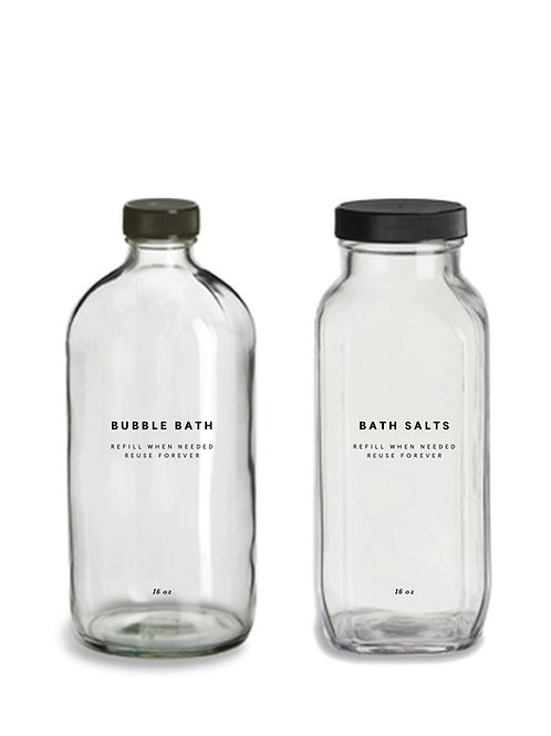Glass Bubble Bath and Bath Salts Bottles