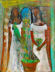 Two Women with Parrot