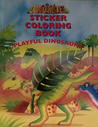 Playful Dinosaurs: Sticker Coloring Book