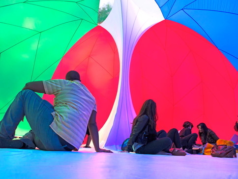 Pneuhaus RGBubble Inflatable Art Architecture Experimental Experience Design Rainbow Light Art Inspired by Nature Physics of Light Tent Event Space Immersive Interactive Installation Art All Ages Family Public Art Festival Silent Disco Color Art Minimal TriColor Red Blue GreenTextile Art Building Fabric Structure