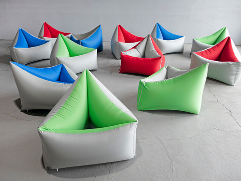 Pneuhaus Tri Cushion Chairs Event Design Inflatable Furntiure Minimal Chair Space Age Futuristic Recliner Temporary Event Furniture Colorful Modular Interactive Chair Seat Portable Foldable Furntiure Custom Commissioned customizable colors colorway