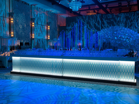 Pneuhaus Pneumatic Masonry Commissions Event Design Experiential Art Installation Bar Mitzvah Wedding Entryway Blue Clear Sparkling Winter Wonderland Experience Design Commission Ice Winter Theme Party